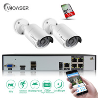 WOASER 4CH 48V POE NVR DVR H 265 CCTV System 2PCS 4MP POE IP Camera Night