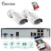 WOASER 4CH 48V POE NVR DVR H 265 CCTV System 2PCS 4MP POE IP Camera Night