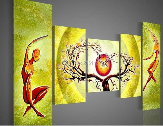 Handmade Modern Abstract Oil Painting On Canvas yellow green Wall ...
