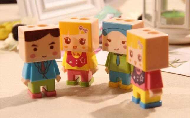 16 шт./партия квадратный дизайн куклы два отверстия точилка для карандашей набор с ластиком детский подарок приза офисные школьные канцелярские принадлежности