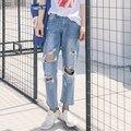 Cintura alta Pantalones Vaqueros Mujer 2017 Estilo Novio Flojo Ocasional Rasgado Agujero Denim Borla Calle Pantalones American Apparel jeans femme B169