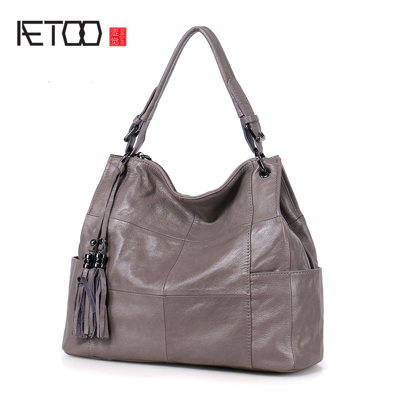 AETOO New tassel shoulder bag handbag casual leather handbags simple diagonal package large capacity package 2016 autumn winter new women s handbag one shoulder cross body bag the trend of fashion picture package large capacity handbags