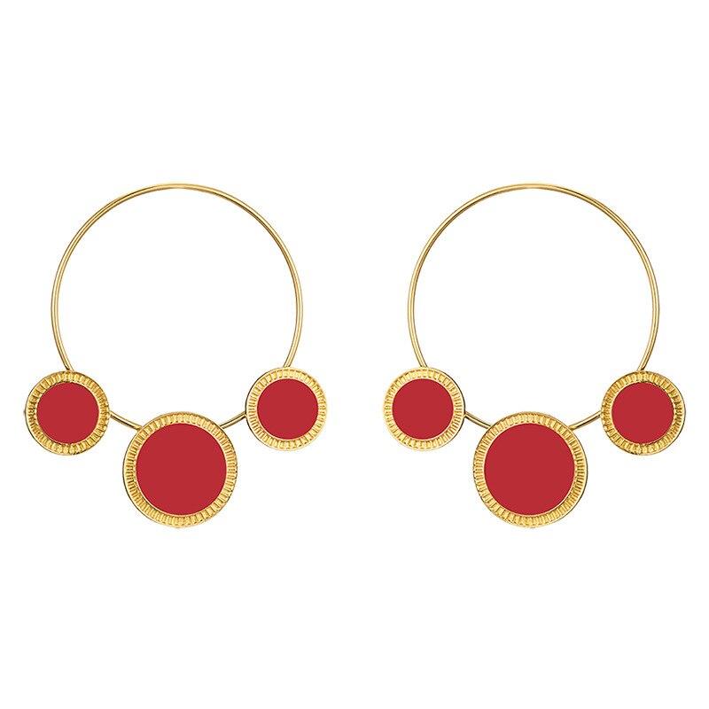Statement Big Hoop Earrings Women Gold Color Round Circle Earring Black Red Boho Punk Trendy Jewelry Hoops Geometric MC013