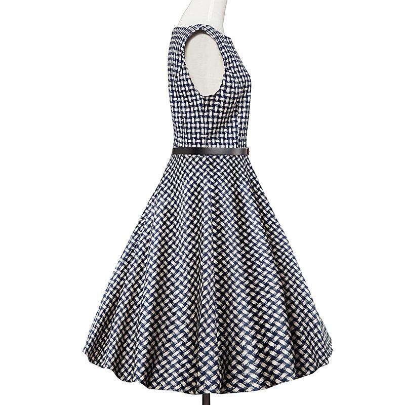 Kostlish Elegant Print Women Summer Dress Sleeveless Cotton Hepburn 50s 60s Vintage Dress With Belt Casual A-Line Ladies Dresses (59)