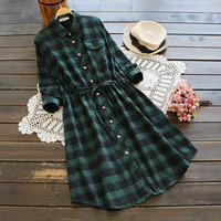 Cute Women Casual Loose Spring Turn Down Collar Tie Waist Green Black Plaid Mori Girl Vintage