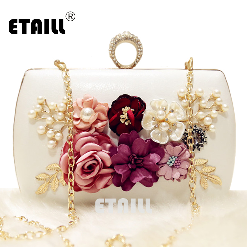 цена на ETAILL New The Golden Chain The Appliques Pattern Flowers Wedding Dinner Bags Hot Hand Evening Bags Purses Clutch Box Package