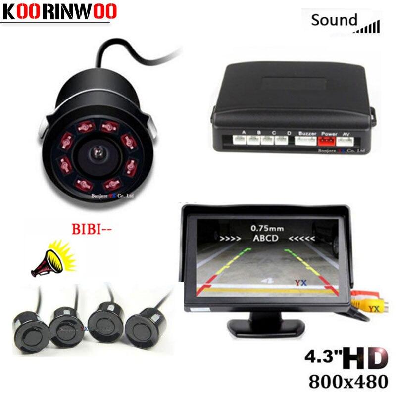 Koorinwoo bezprzewodowy Parktronic HD CCD czujnik parkowania samochodu 4 radary System wykrywania samochód lusterko wsteczne obraz wideo z kamery Monitor TFT LCD