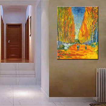 Handpainted High Q.Vincent Van Gogh Reproduction Oil Painting Les Alyscamps Frameless Art On Canvas For Home Decoration