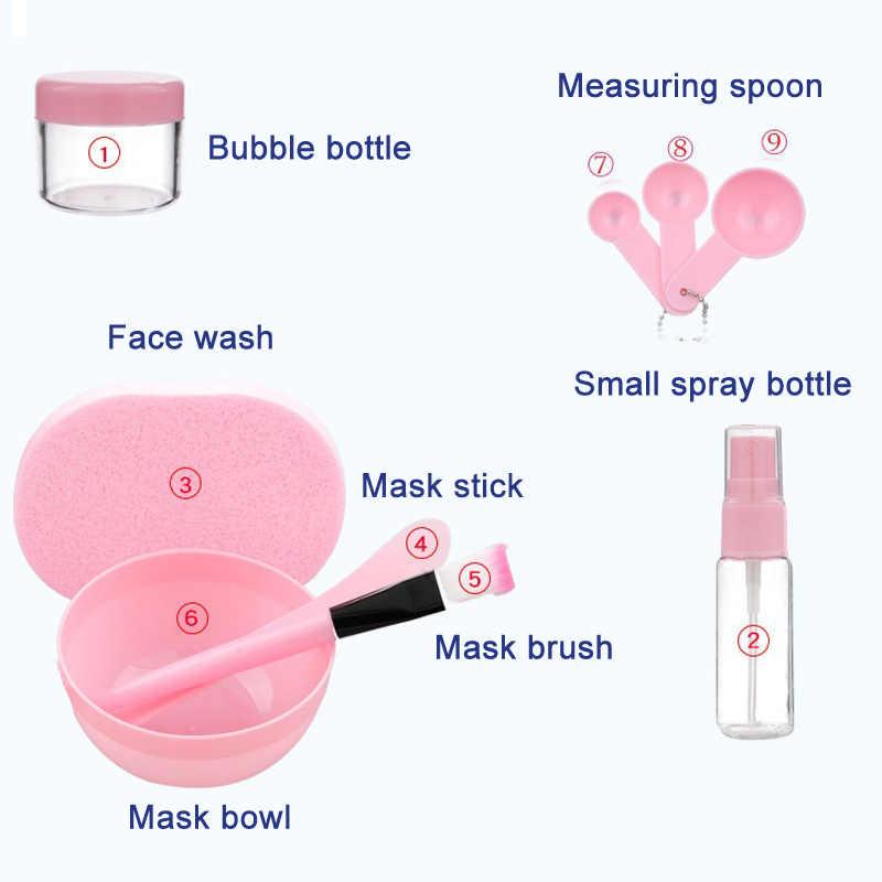 جديد 9 قطعة/المجموعة DIY قناع الوجه أدوات عدة عاء فرشاة ملعقة عصا زجاجة الإسفنج محلية الصنع ماكياج الجمال أداة