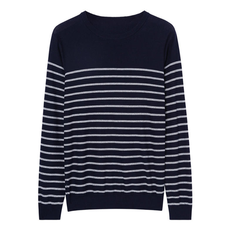 MuLS 2019 Spring Knit Sweater Men Pullover Striped Sweater Jumpers Autumn Male Cotton knitwear Youth Blue Black Grey Size M-3XL 6