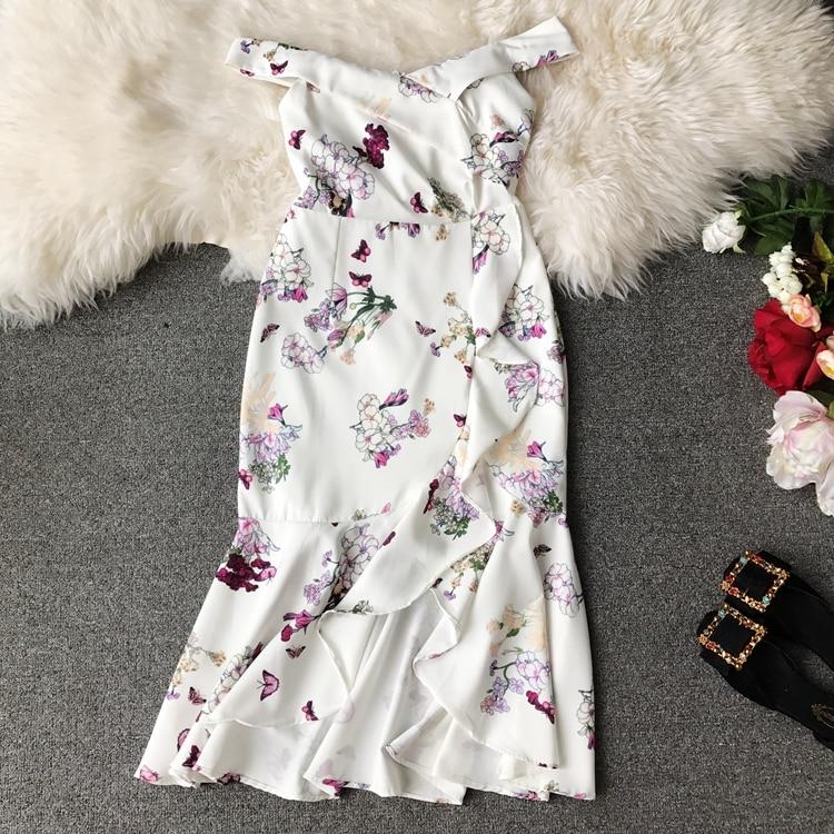 2019 summer sexy Slash neck Summer Dress Women floral print Irregularity dresses Vestidos 3