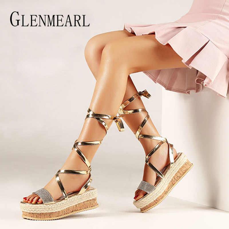 97c91b355db Women Sandals Summer Shoes Platform Wedges Shoes Lace Up Ankle Strap ...
