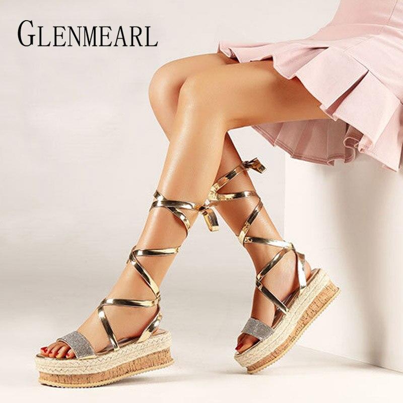 07730c8f Женские босоножки; Летняя обувь; обувь на танкетке; сандалии-гладиаторы со  шнуровкой и
