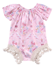 Pink Newborn Baby Girls Tassels Floral Romper Short Sleeve Jumpsuit Clothes Summer Sunsuit Outfit Baby Girl 0-24M