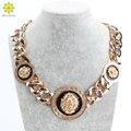 Мода 3 Металл Львиная Голова Коренастый Акриловые Ожерелье Цепь Себе Ювелирные Изделия Биб Воротник Чокеры Ожерелья