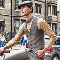 Brand Men Clothing Autumn Winter business causal Retro mens slim fit suit vest waistcoat men formal wedding gilet classic vest