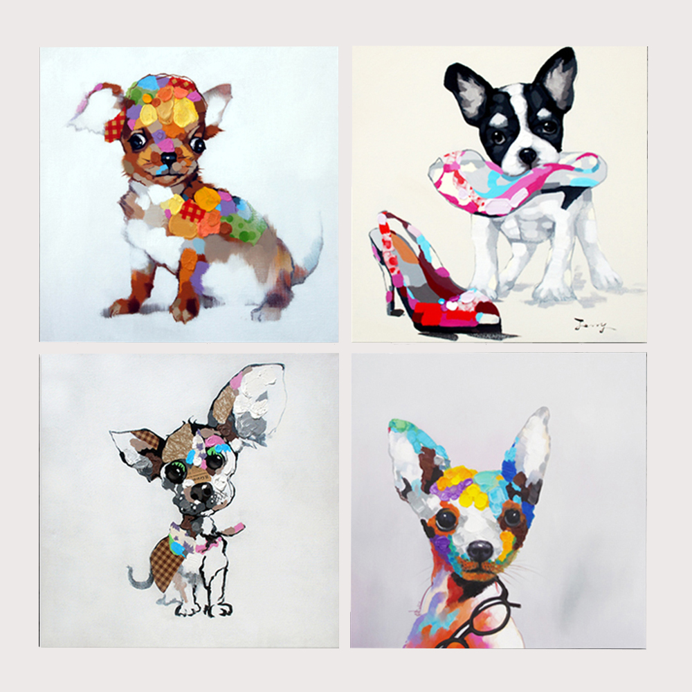 Mintura 100 Hand Painted Oil Paintings Lovely Dog Animal Oil Painting Canvas for Living Room Children