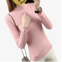 2017 New Autumn Winter Women Sweater High Elastic Solid Turtleneck Sweater Women Slim Sexy Tight Bottoming