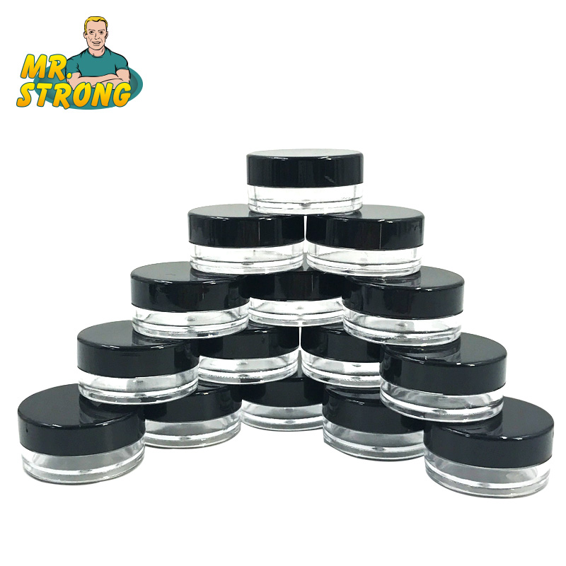 100Pcs/Lot Empty Container Cream Refillable Bottles Plastic Eyeshadow Makeup Face Cream Jar Pot Travel Bottle Black Color 10pcs refillable tube dull polish empty cosmetic bottle soft tube with cap travel squeeze make ups container refillable bottles