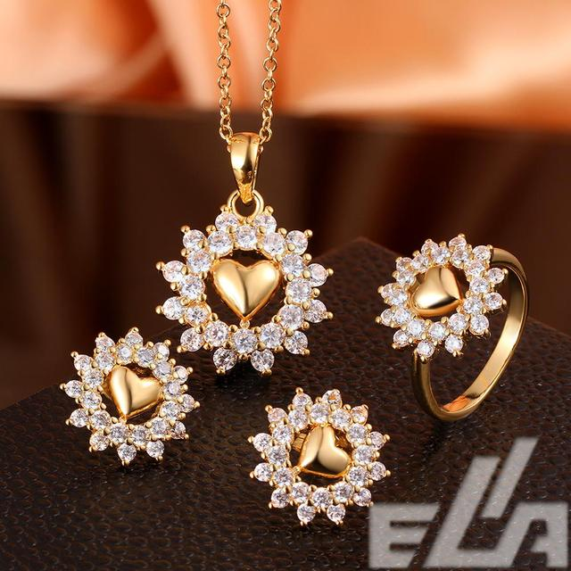 New fashion jewelery snow heart yellow rose gold platinum plated wedding jewelry sets Necklace Stud Earrings ring size 7  8