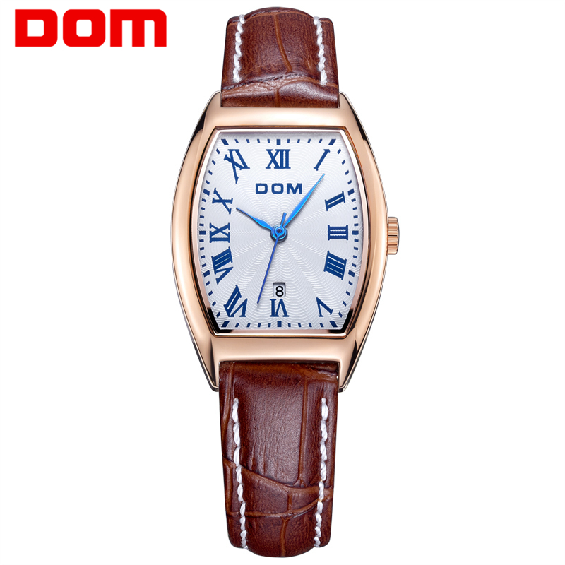Genuine watch Brand Luxury Women Watches Dom G-1012 Business Rose Gold Stainless Steel Ladies Quartz Calendar Wrist watch 2016 new ladies fashion watches decorative grape no word design gold watch stainless steel women casual wrist watch fd0107
