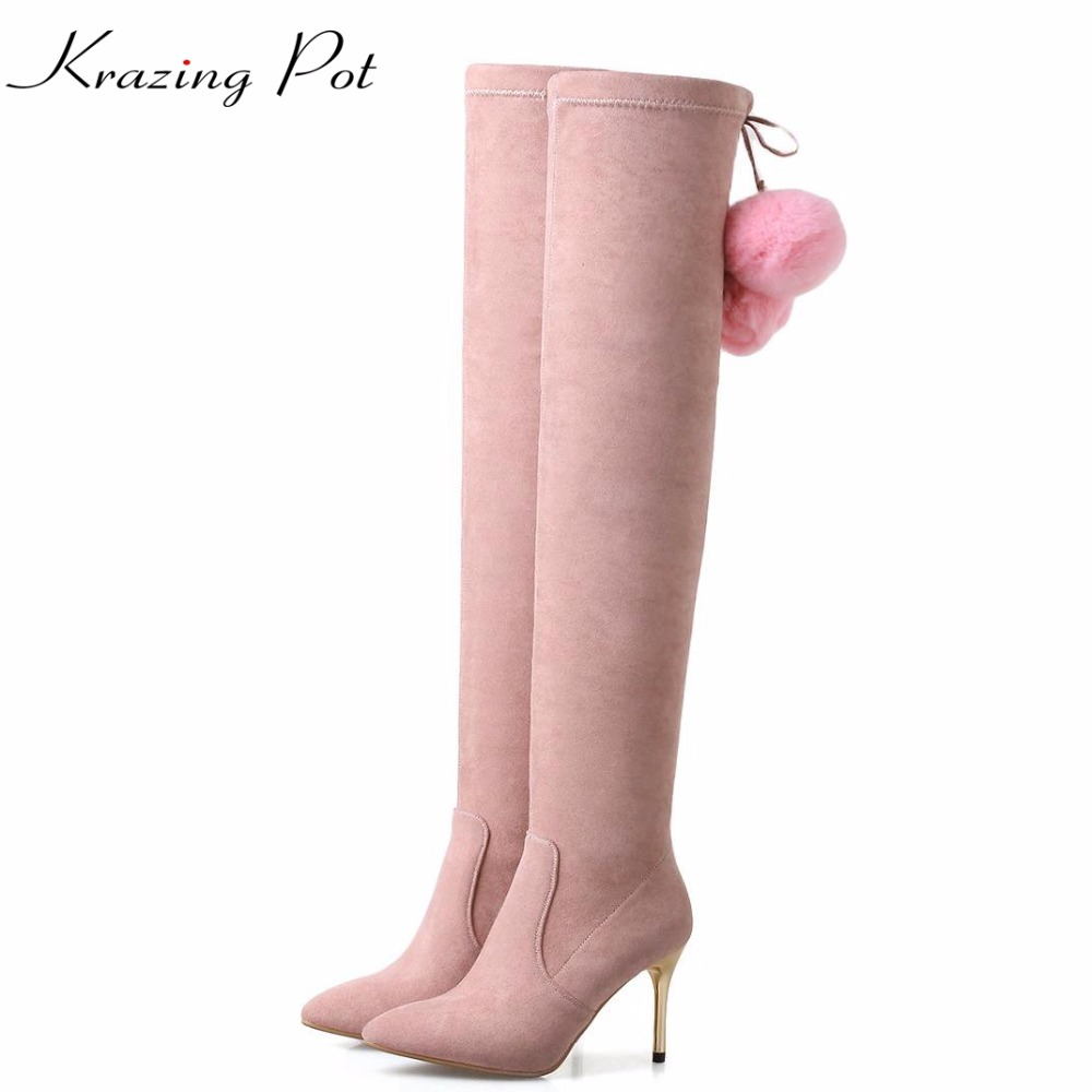 Krazing Pot flannel fur pointed toe superstar stiletto high heels thigh high stretch boots European over-the-knee boots L62