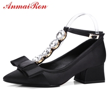 ANMAIRON Women Fashion Silk Pointed Pumps  Mary Janes  Casual  Women Shoes High Heel Spring and Autumn Shoes Size 34-39 LY666 enmayer 2019 basic low heel women pumps 3 colors solid women fashion mary jane shoes spring autumn size 34 43 ly1931 page 10 page 7