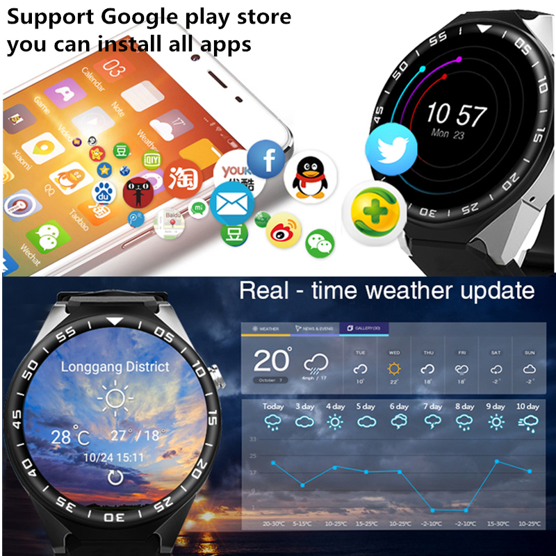 US $90 32 30% OFF|Smart Watch KW88 PRO For Samsung gear s3 with 2MP Camera  2GB RAM 16GB ROM SIM Card 3G WIFI GPS Smartwatch Heart rate monitor-in