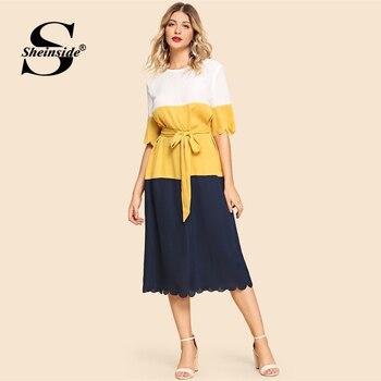 867148b2b286410 Product Offer. Sheinside модное прямое платье с цветным блоком женское 2019  летнее повседневное фестонный край длинное кружевное ...
