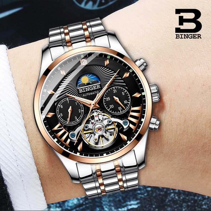 Switzerland Luxury Men's Watch BINGER Brand Moon phase Mechanical Wristwatches Men Sapphire Full Steel Tourbillon Clock Male