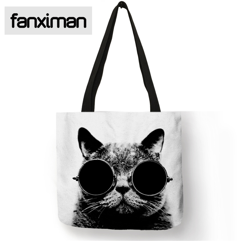 Cute Cat Print Tote Women Shoulder Bag Eco Friendly Linen Bag For Shopping Home Storage Bags Clothes
