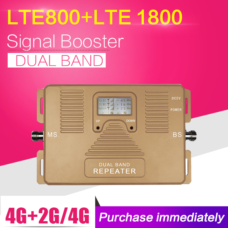 4G LTE 800 4G LTE 1800 Dual Band Cell Phone Cellular Signal Repeater 2g 4g 1800mhz Amplifier Moblie Phone Signal Booster