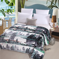 High Quality SInk Painting Thicker Lamb Sofa Cover Super Soft Warm Breathable Cloud Mink Cashmere Layer