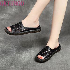 Image 4 - GKTINOO 2020 여성을위한 정품 가죽 플립 플롭 샌들 여름 신발 우아한 플랫 힐 패션 야외 슬라이드 여성 슬리퍼