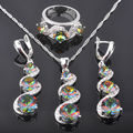 Unique Multicolor Rainbow Cubic Zirconia Woman's Silver Jewelry Sets Earrings/Pendant/Necklace/Rings Free Shipping QZ061