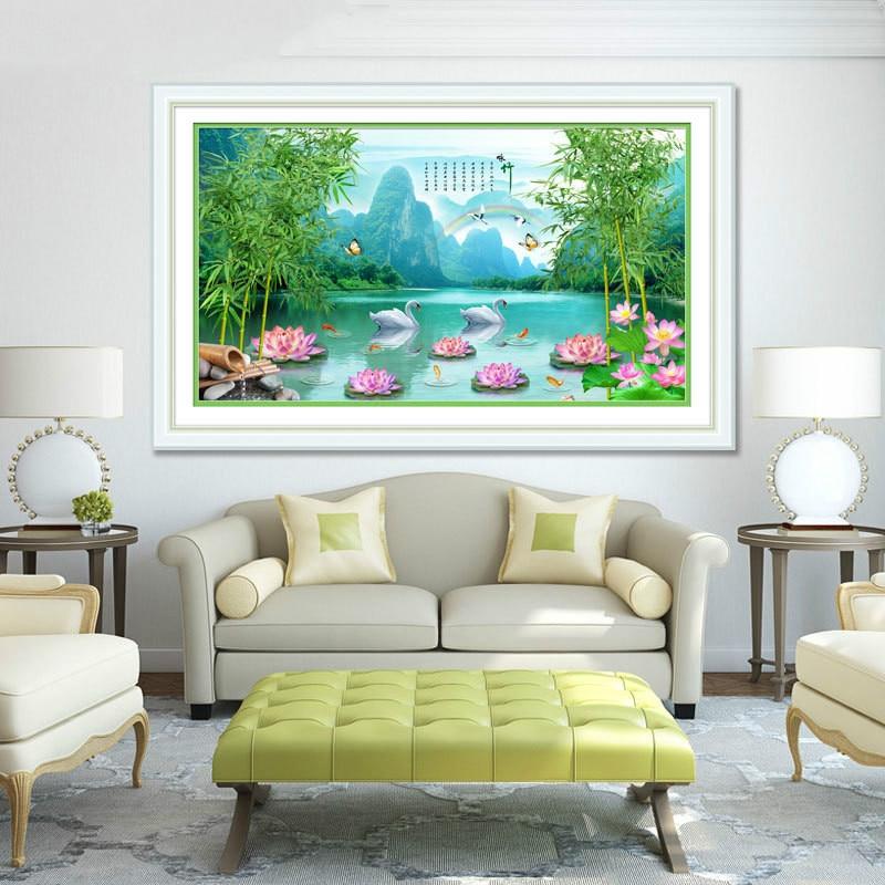 DIY 5D Sale Diamond Embroidery, Diamond Mosaic, Special Shaped, Mountain and Lake, Lotus, Diamond Painting, Cross Stitch,3D