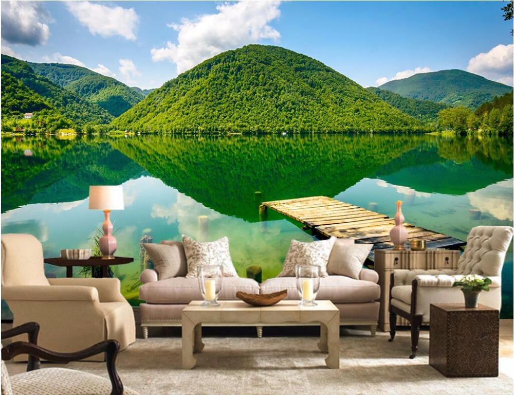 Custom 3d Mural Wallpapers Hd Landscape Mountains Lake: 3d Wallpaper Custom Photo Room Mural Castle Peak Green