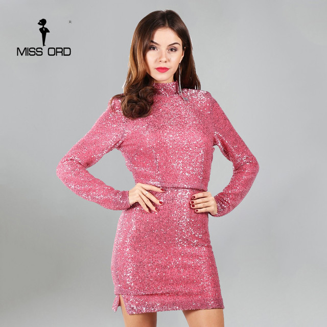 Missord 2017 Sexy long sleeve high-necked shoulder pads sequin dress backless party dress FT4952