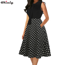 цена на Women Sleeveless Black Patchwork Polka Dot Dresses Ladies Bow Tie Pocket Party Female Vestidos Party Fit and Flare A-line Dress