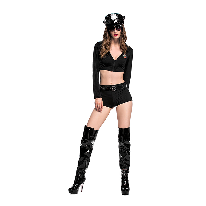 2pcs Women sexy Police Costume Adult Woman Policewoman Cosplay Adult Sex Cop Outfits Role playing Women Sexy Halloween Costumes