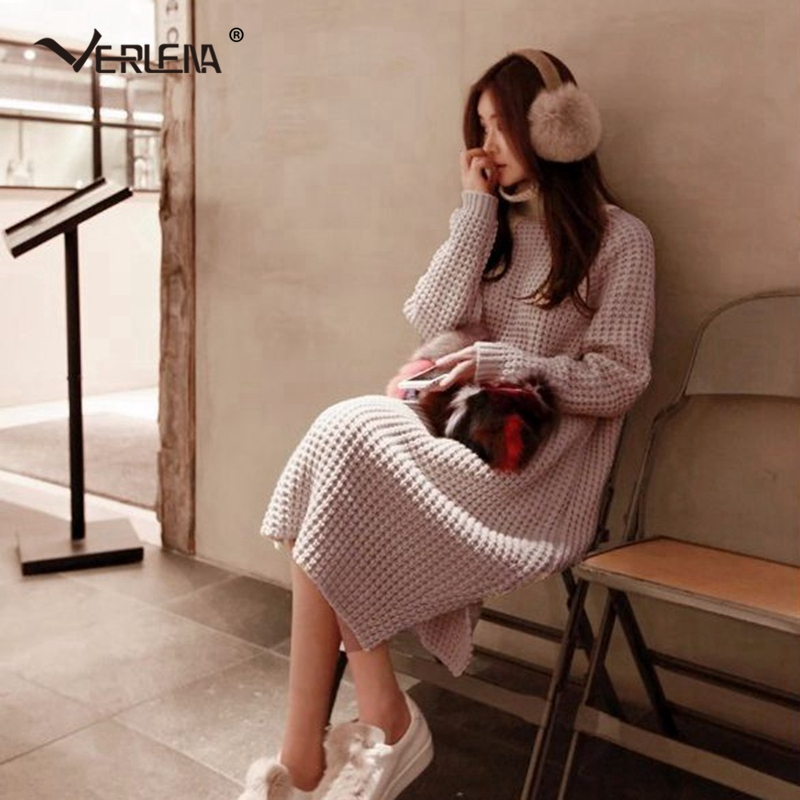 Verlena Fall 2019 Streetwear Long Sleeve Korean Loose Winter Dress Elegant Women Textured Side Split Stretchable Knitted Dresses