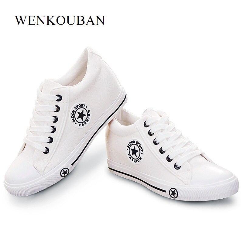 18d1c886ecd11 Étoiles Vulcanisé Chaussures Femmes Sneakers Compensées Blanc Chaussures  D été Toile Sneakers Femmes Casual Chaussures Dames Dentelle Up Zapatos  Mujer dans ...