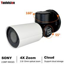 2.0MP سوني IMX323 POE كاميرا IP صغيرة PTZ H.265 سحابة التخزين في الهواء الطلق 4X زووم بصري P2P CCTV الأمن Onvif مقاوم للماء الأشعة تحت الحمراء RTSP