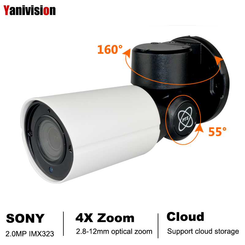 2.0MP <font><b>SONY</b></font> <font><b>IMX323</b></font> POE Mini PTZ <font><b>IP</b></font> Camera H.265 Cloud Storage Outdoor 4X Optical Zoom P2P CCTV Security Onvif Waterproof IR RTSP image