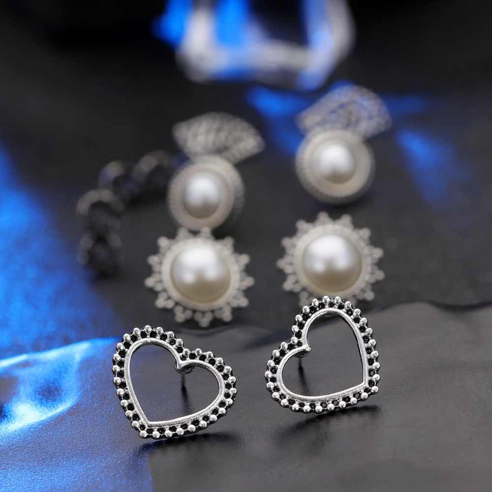 Hesiod Vintage Stud Earrings for Women Jewelry Bohemia Carved Imitaiton Pearl Opal Earring Set Dropshipping Brincos 5 Pair Set