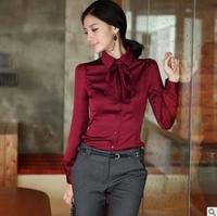 Autumn Spring Plus size 4XL 5XL Women Chiffon Blouse Work Office Lady Solid bow Shirts Tops 0.281KG
