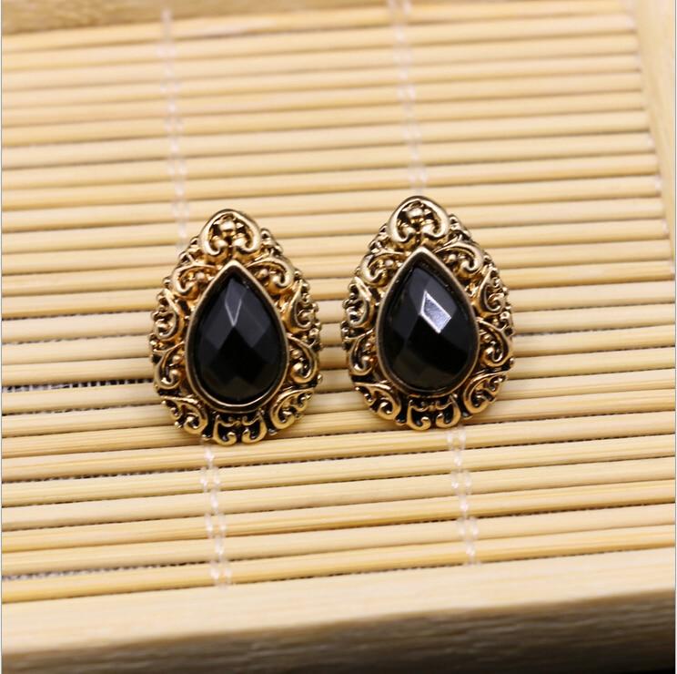 Black Stone Earrings: 2017 Classic Designs Jhumka Vintage Plated Metal Stud