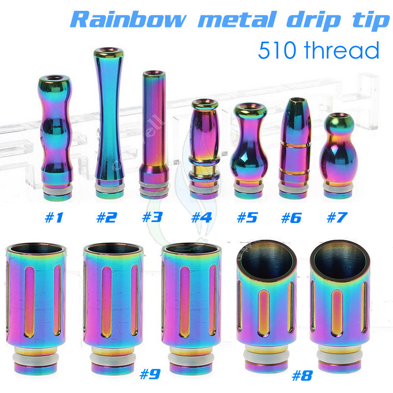 Beautiful Rainbow Drip Tip Stainless Steel 510 Drip Tip Bullet Drip