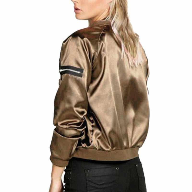 Сексуальный черный, серебристый на молнии, Сатиновая куртка-бомбер, Женские базовые пальто, весенне-осеннее пальто, верхняя одежда с длинными рукавами