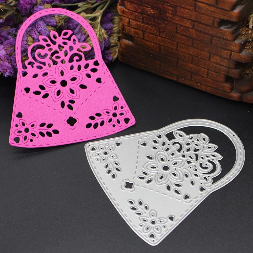 Flower Pattern Handbag Basket Lady DIY Metal Cutting Dies Stencils Scrapbook Embossing Album Paper Card Craft Decorative Folder
